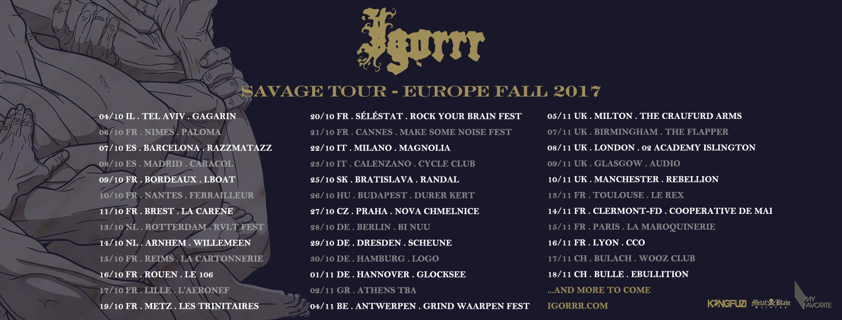 Igorrr - Tourplan